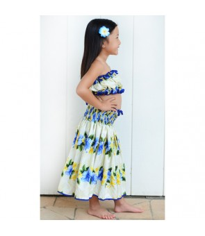 Hawaiian Order-Made Keiki Pa'u Skirt [ Nau Hibiscus ] Blue