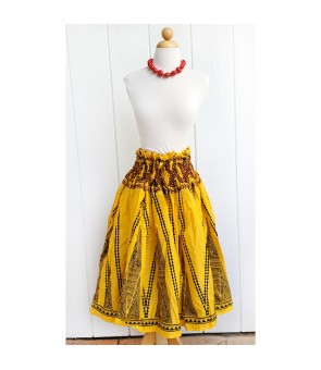 Hawaiian Single Pa'u Skirt TKJ-13-712 [ Kahiko Pattern-Tapa ] Yellow