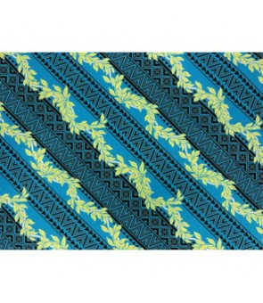 Hawaiian Poly Cotton Fabric BN-14-122 [ Digital Tapa / Lei ] Blue