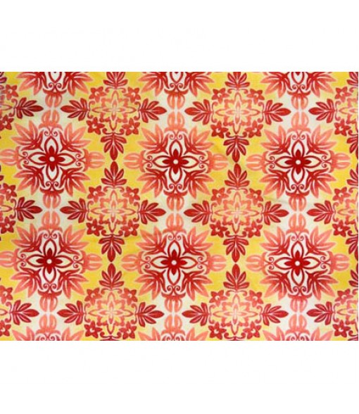 Hawaiian Poly Cotton Fabric BN-16-176 [ Quilt ] Red Yellow