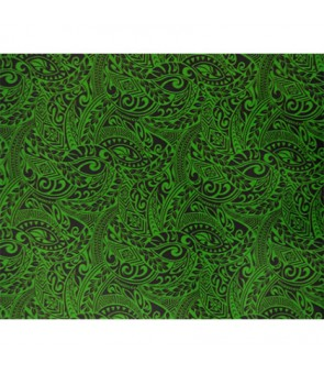Hawaiian Poly Cotton Fabric BQ-11-788 [ Tapa Wave ] New Green Black
