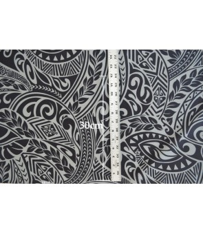 Hawaiian Poly Cotton Fabric BQ-11-788 [ Tapa Wave ] New Grey