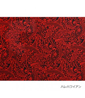 Hawaiian Poly Cotton Fabric BQ-11-788 [ Tapa Wave ] Red Black