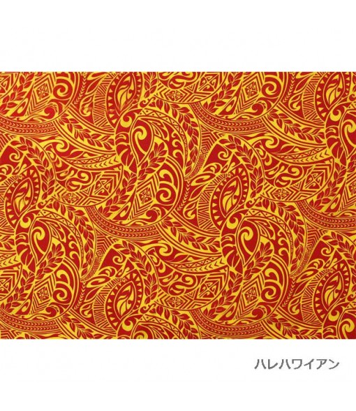 Hawaiian Poly Cotton Fabric BQ-11-788 [ Tapa Wave ] Red Yellow