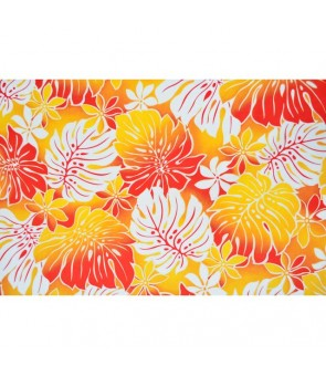 Hawaiian Poly Cotton Fabric BQ-12-880 [ Tiare Monstera ] Orange