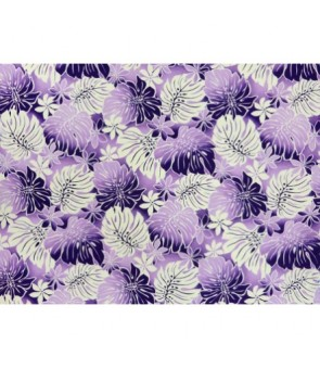 Hawaiian Poly Cotton Fabric BQ-12-880 [ Tiare Monstera ] Purple