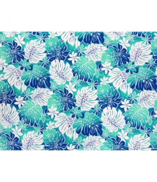 Hawaiian Poly Cotton Fabric BQ-12-880 [ Tiare Monstera ] Turquoise