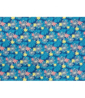 Hawaiian Poly Cotton Fabric EM-11-159 [ Tiare / Monstera ] Blue