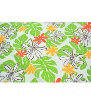 Hawaiian Poly Cotton Fabric EM-11-159 [ Tiare / Monstera ] Cream