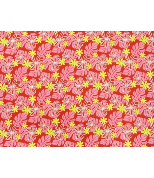 Hawaiian Poly Cotton Fabric EM-11-159 [ Tiare / Monstera ] Rose