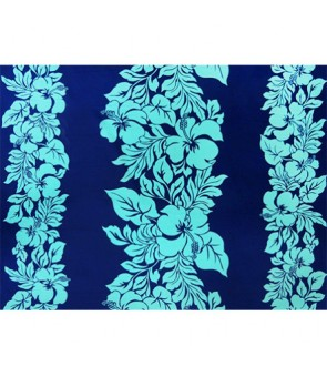Hawaiian Poly Cotton Fabric ETU-436 [ Hibiscus Panel ] Aqua & Royal Blue