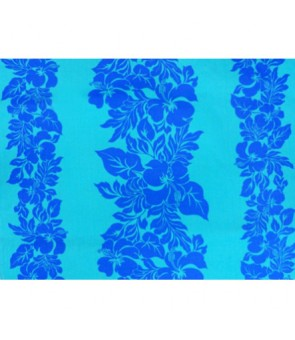 Hawaiian Poly Cotton Fabric ETU-436 [ Hibiscus Panel ] Blue & Cyan