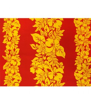 Hawaiian Poly Cotton Fabric ETU-436 [ Hibiscus Panel ] Canary Yellow & Fire Red