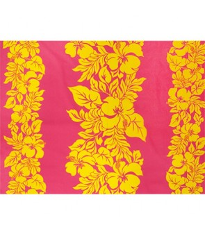 Hawaiian Poly Cotton Fabric ETU-436 [ Hibiscus Panel ] Yellow & Fuchsia
