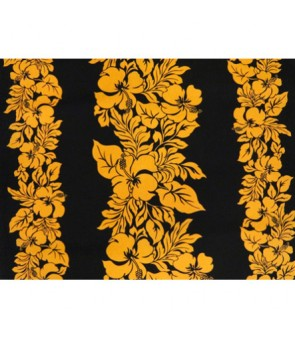 Hawaiian Poly Cotton Fabric ETU-436 [ Hibiscus Panel ] Mustard & Black