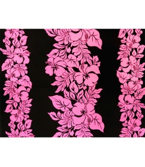 Hawaiian Poly Cotton Fabric ETU-436 [ Hibiscus Panel ] Neon Pink & Black