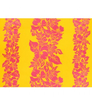 Hawaiian Poly Cotton Fabric ETU-436 [ Hibiscus Panel ] Pink & Yellow