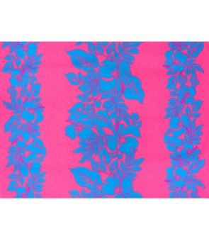 Hawaiian Poly Cotton Fabric ETU-436 [ Hibiscus Panel ] Turquoise & Pink