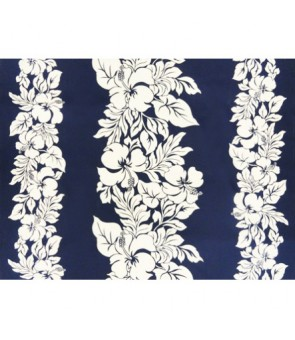 Hawaiian Poly Cotton Fabric ETU-436 [ Hibiscus Panel ] White & Navy