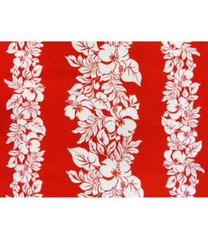 Hawaiian Poly Cotton Fabric ETU-436 [ Hibiscus Panel ] White & Red