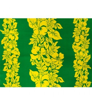 Hawaiian Poly Cotton Fabric ETU-436 [ Hibiscus Panel ] Yellow & Green
