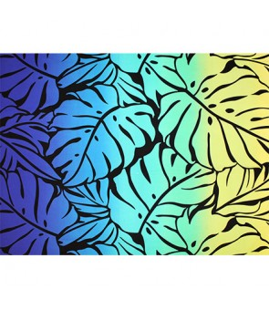 Hawaiian Poly Cotton Fabric GA-18-153 [ Big Monstera ] Black Blue
