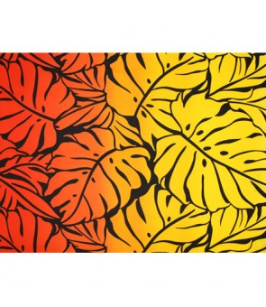 Hawaiian Poly Cotton Fabric GA-18-153 [ Big Monstera ] Black Orange