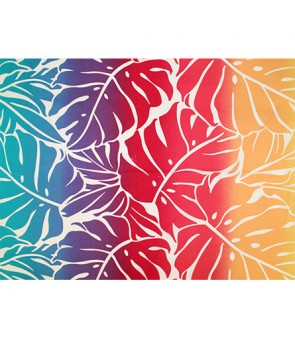 Hawaiian Poly Cotton Fabric GA-18-153 [ Big Monstera ] Red