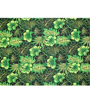 Hawaiian Poly Cotton Fabric LMH-16-820 [ Future Leaf Hibiscus ] Black Green