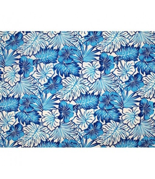 Hawaiian Poly Cotton Fabric LMH-16-820 [ Future Leaf Hibiscus ] Blue Cream