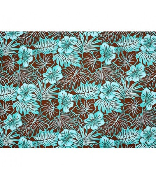 Hawaiian Poly Cotton Fabric LMH-16-820 [ Future Leaf Hibiscus ] Brown Teal