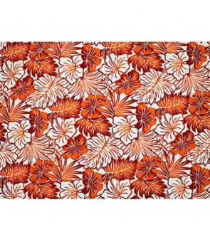 Hawaiian Poly Cotton Fabric LMH-16-820 [ Future Leaf Hibiscus ] Orange Cream
