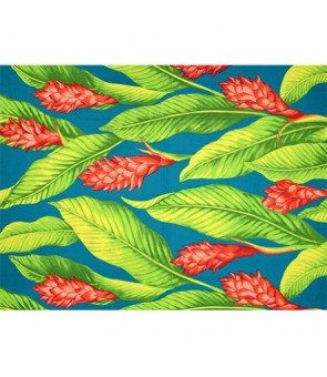 Hawaiian Poly Cotton Fabric LMH-18-871 [ Ginger ] Teal