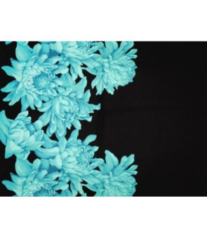 Hawaiian Poly Cotton Fabric LMH-19-911 [ Torch Ginger Border ] Teal Black