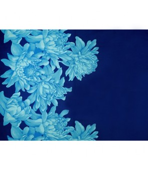 Hawaiian Poly Cotton Fabric LMH-19-911 [ Torch Ginger Border ] Turquoise Royal Blue