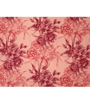 Hawaiian Poly Cotton Fabric LMH-19-926 [ Hibiscus & Protea Bouquet ] Coral
