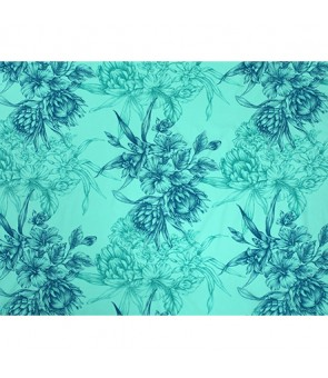 Hawaiian Poly Cotton Fabric LMH-19-926 [ Hibiscus & Protea Bouquet ] Green Mint