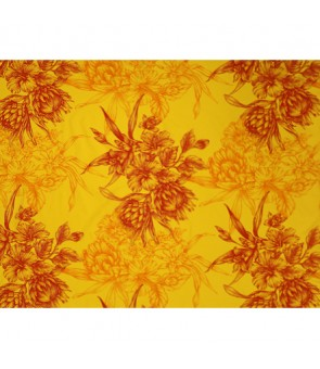 Hawaiian Poly Cotton Fabric LMH-19-926 [ Hibiscus & Protea Bouquet ] Orange Yellow