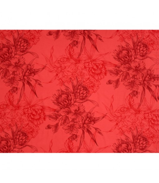 Hawaiian Poly Cotton Fabric LMH-19-926 [ Hibiscus & Protea Bouquet ] Red