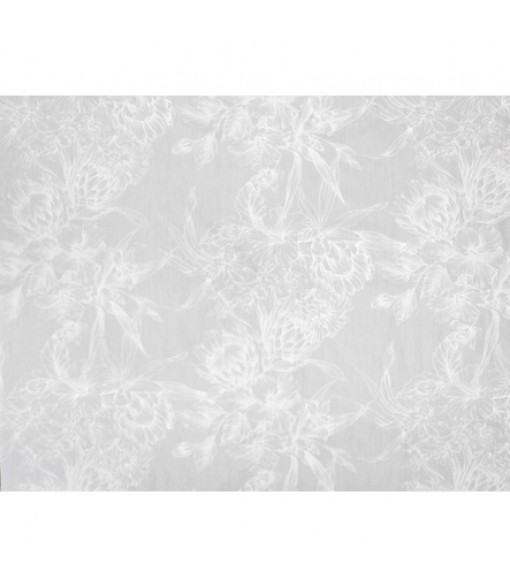 Hawaiian Poly Cotton Fabric LMH-19-926 [ Hibiscus & Protea Bouquet ] White