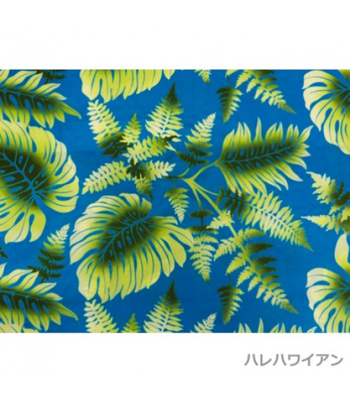 Hawaiian Poly Cotton Fabric LW-14-369 [ Air Brush Monstera & Fern ] Turquoise