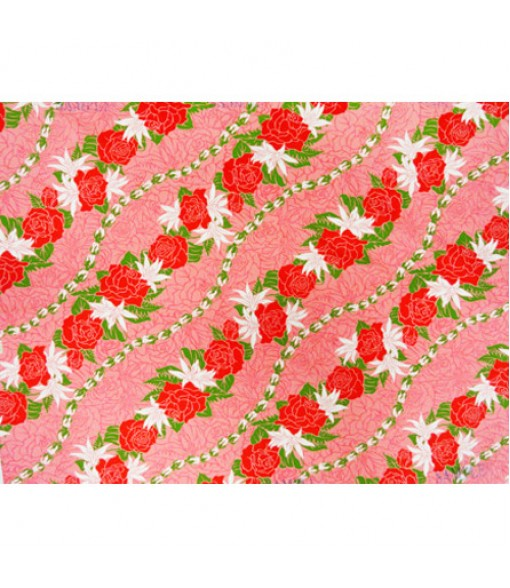 Hawaiian Poly Cotton Fabric LW-16-477 [ Rose / Lily Bias ] Coral