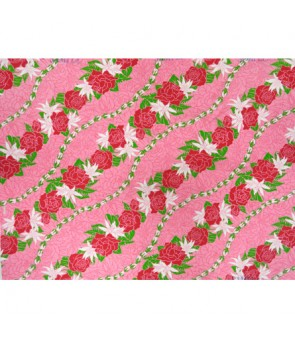 Hawaiian Poly Cotton Fabric LW-16-477 [ Rose / Lily Bias ] Pink