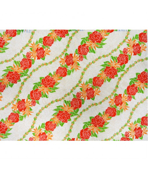 Hawaiian Poly Cotton Fabric LW-16-477 [ Rose / Lily Bias ] Red Cream