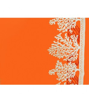 Hawaiian Poly Cotton Fabric LW-16-522 [ Coral Border ] Orange