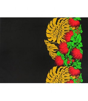 Hawaiian Poly Cotton Fabric LW-16-544 [ Lehua Monstera Border ] Black