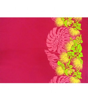 Hawaiian Poly Cotton Fabric LW-16-544 [ Lehua Monstera Border ] Fuchsia