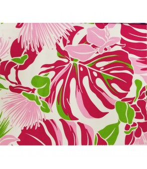 Hawaiian Poly Cotton Fabric LW-16-548 [ Lehua / Monstera ] Pink Cream