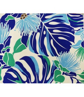 Hawaiian Poly Cotton Fabric LW-16-548 [ Lehua / Monstera ] Royal Blue Cream