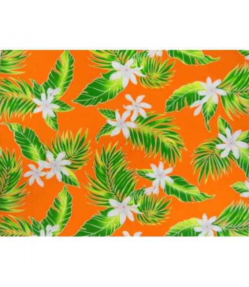 Hawaiian Poly Cotton Fabric LW-17-574 [ Tiare Leaf ] Orange